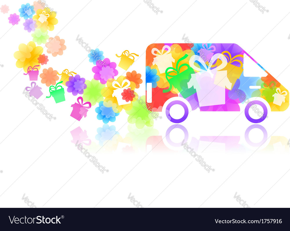 Symbol of a truck with a gift box vector | Price: 1 Credit (USD $1)