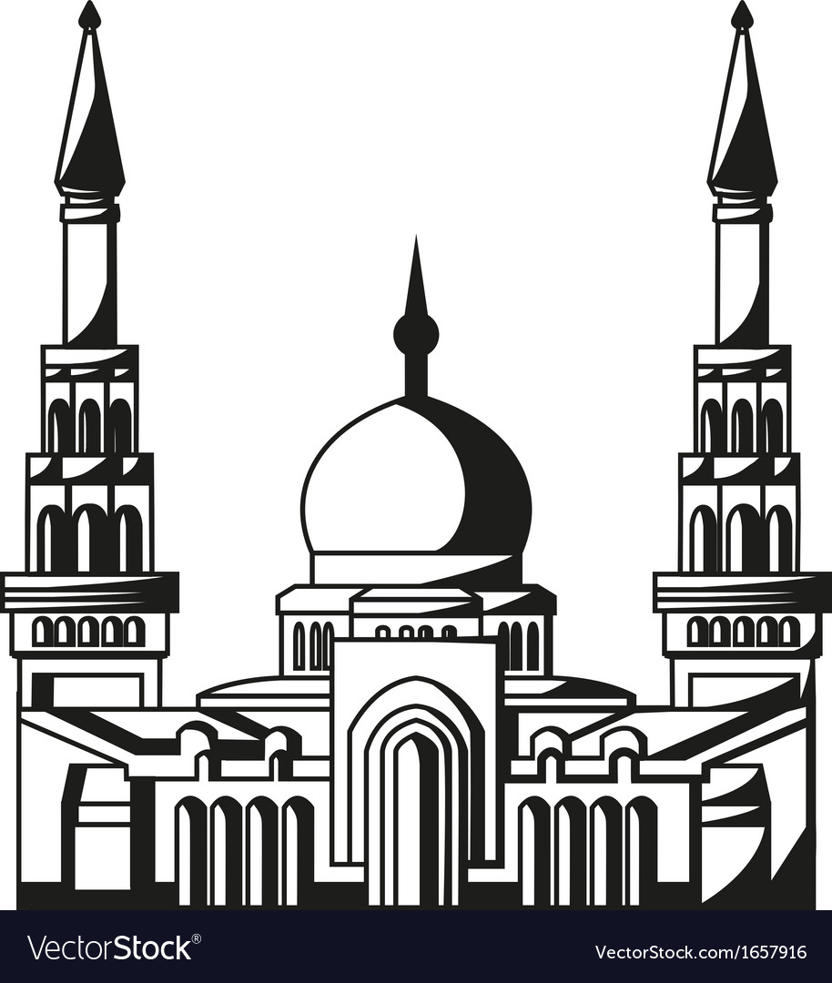 Symbol of islam silhouette of mosque ramadan vector | Price: 1 Credit (USD $1)
