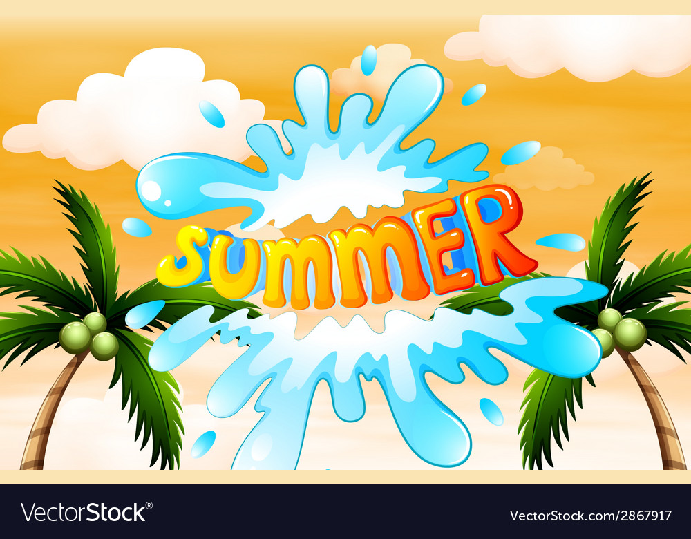 A summer artwork with coconut trees vector | Price: 1 Credit (USD $1)