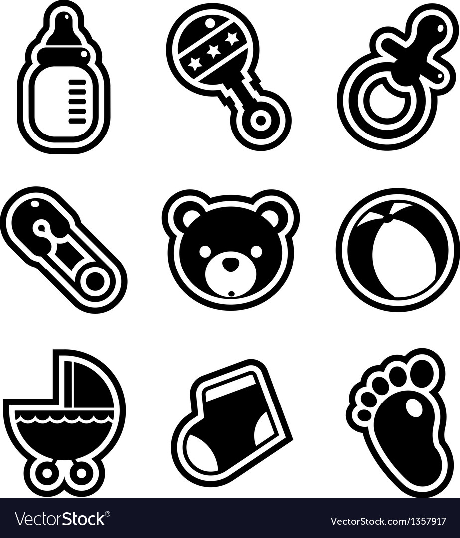 Baby shower icons vector | Price: 1 Credit (USD $1)