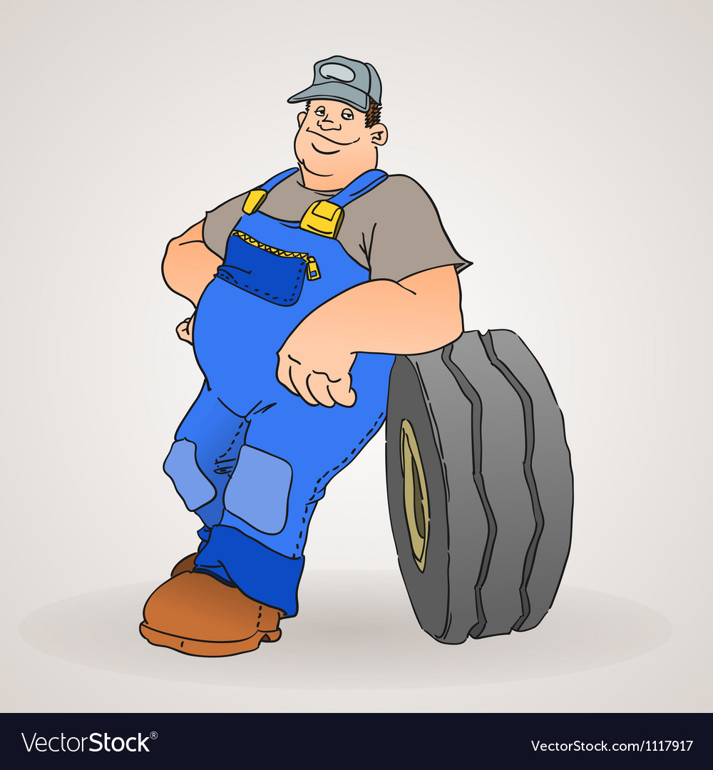Car mechanic with tyre vector | Price: 1 Credit (USD $1)