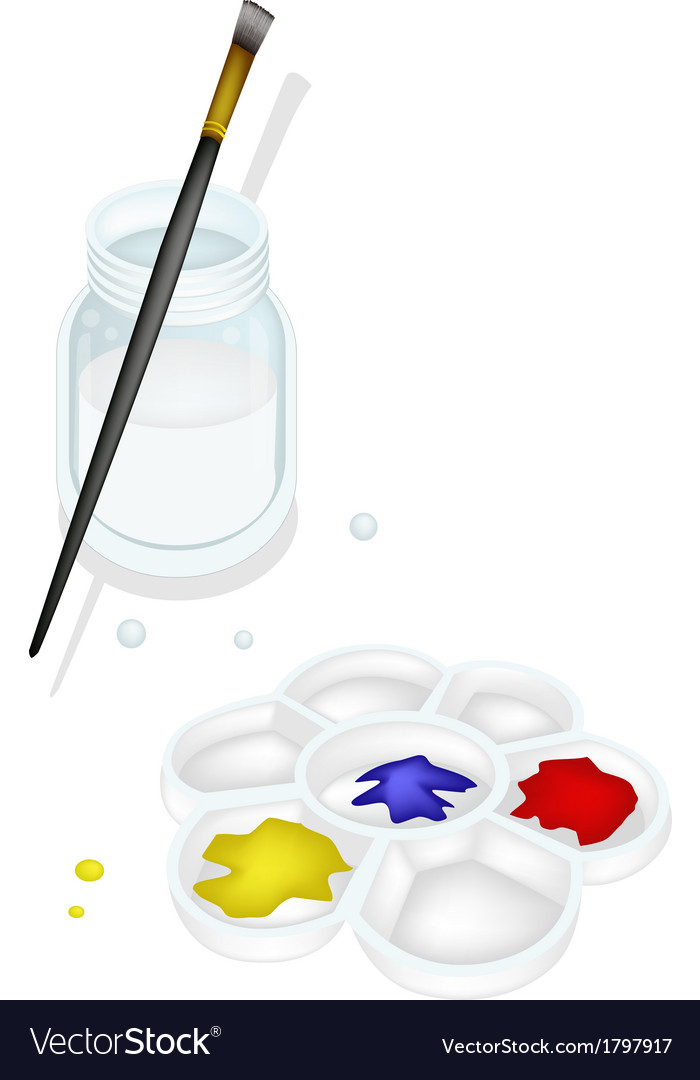 Color paint in palette with brush and jar vector | Price: 1 Credit (USD $1)