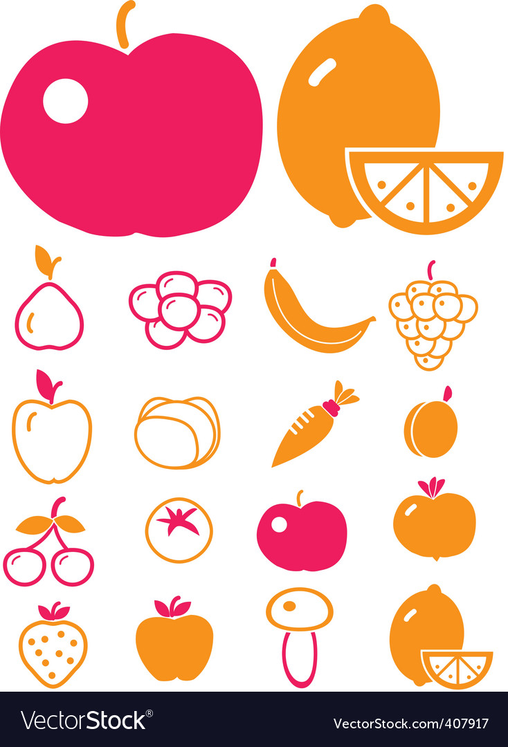 Cute vegetables  fruits vector | Price: 1 Credit (USD $1)