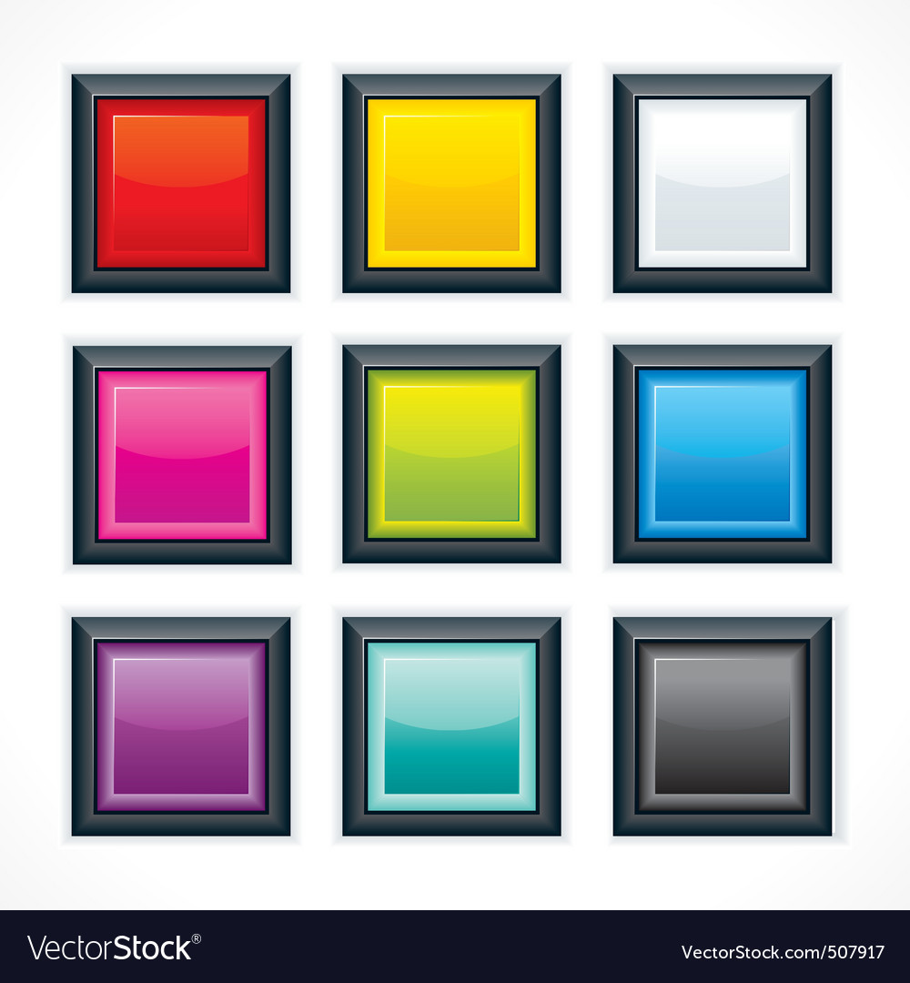 Empty colorful square buttons vector | Price: 1 Credit (USD $1)