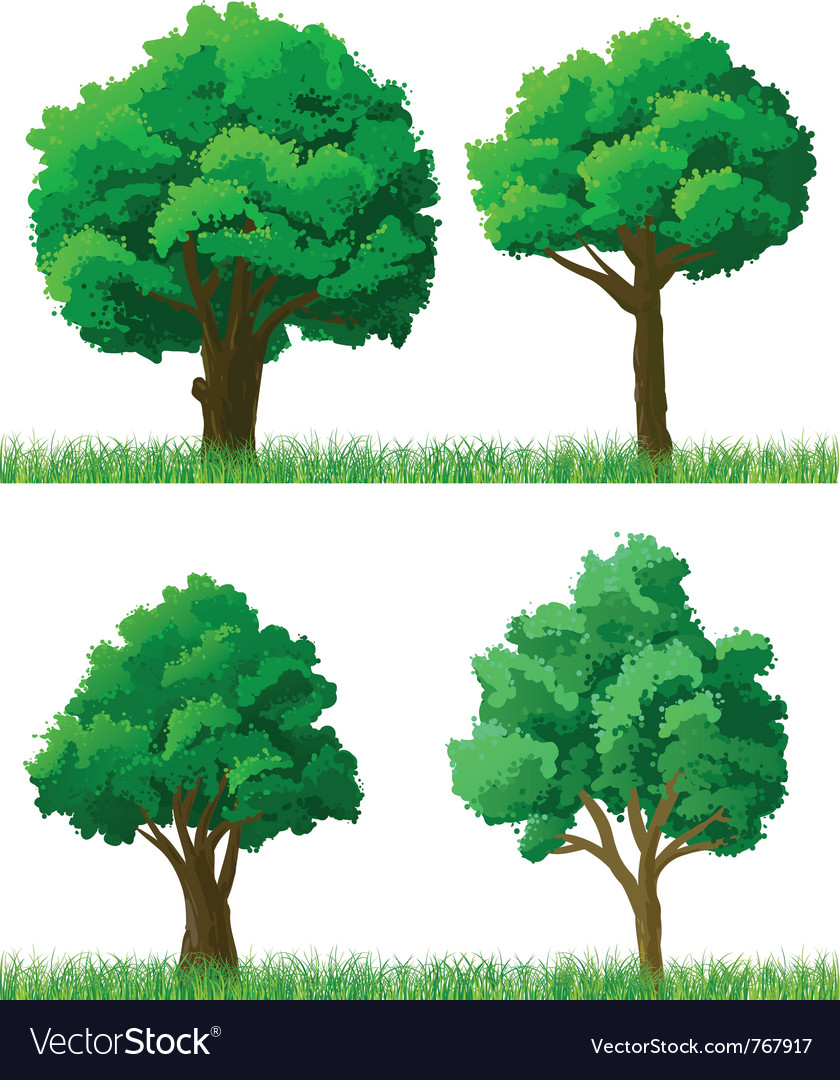 Green trees and grass set vector | Price: 1 Credit (USD $1)