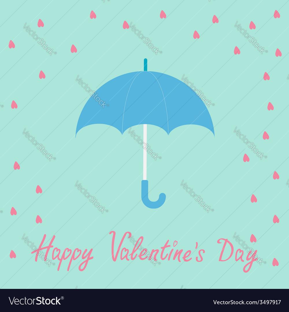 Pink heart rain with blue umbrella flat design vector | Price: 1 Credit (USD $1)