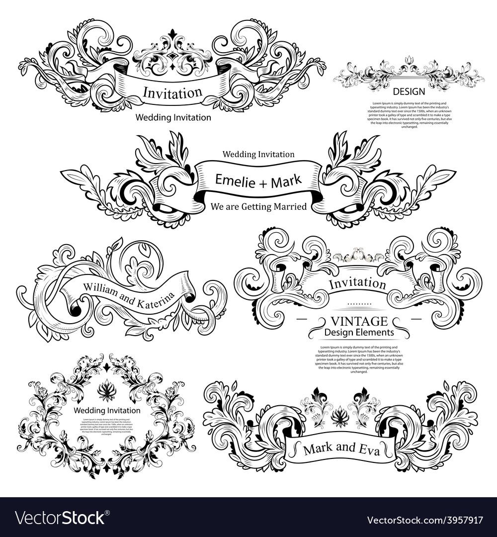 Set of vintage victorian ornaments wedding design vector | Price: 1 Credit (USD $1)