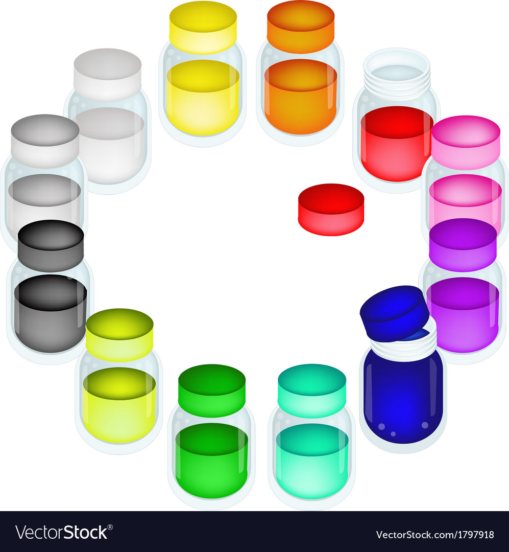 A set of colorful color paint jars vector | Price: 1 Credit (USD $1)
