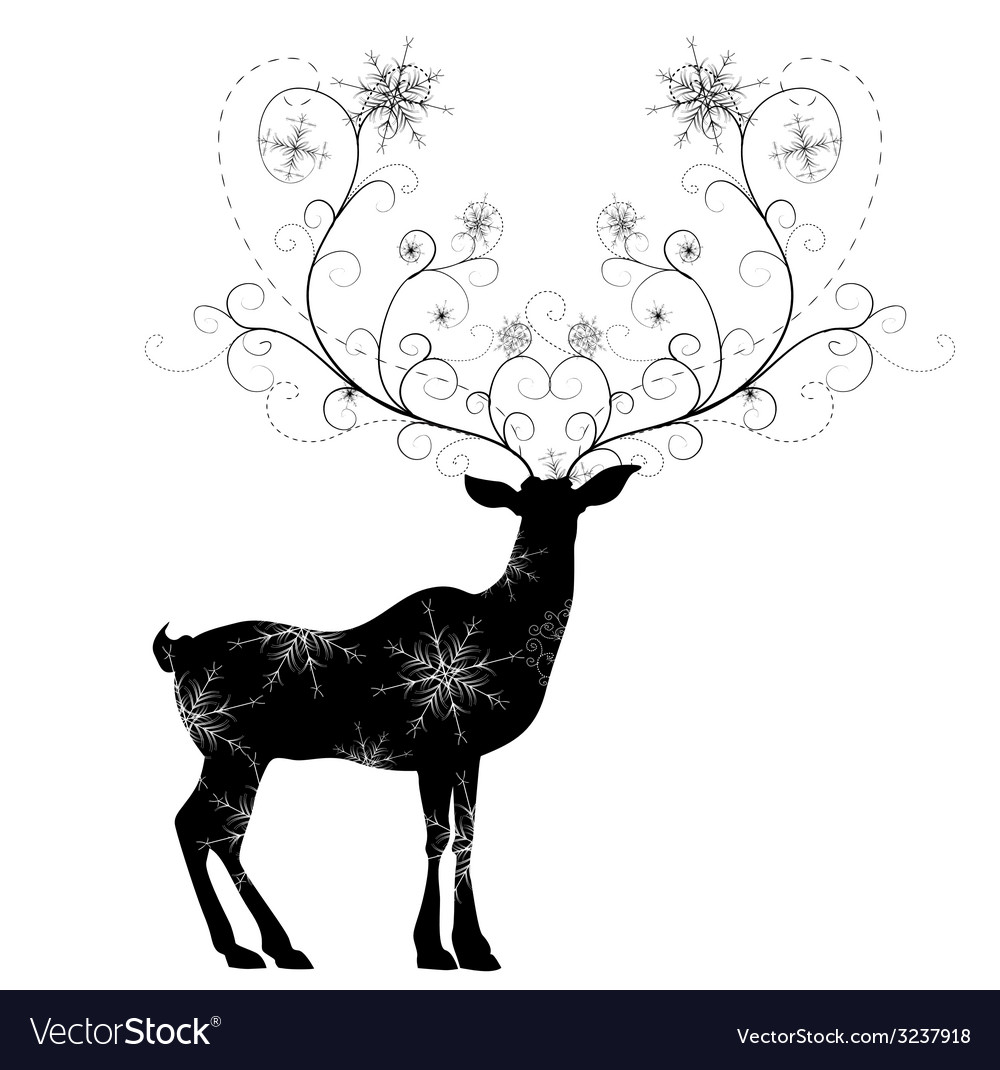 Deer with snowflakes horns vector | Price: 1 Credit (USD $1)