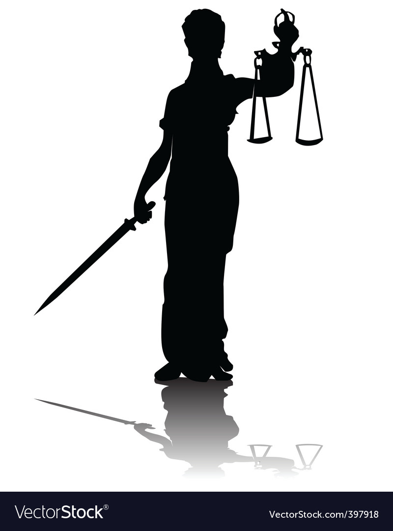 Goddess of justice silhouette vector | Price: 1 Credit (USD $1)
