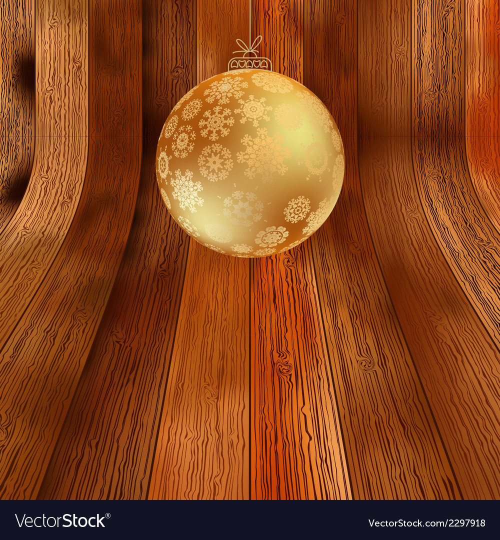 Gold bauble on rustic background  eps8 vector | Price: 1 Credit (USD $1)