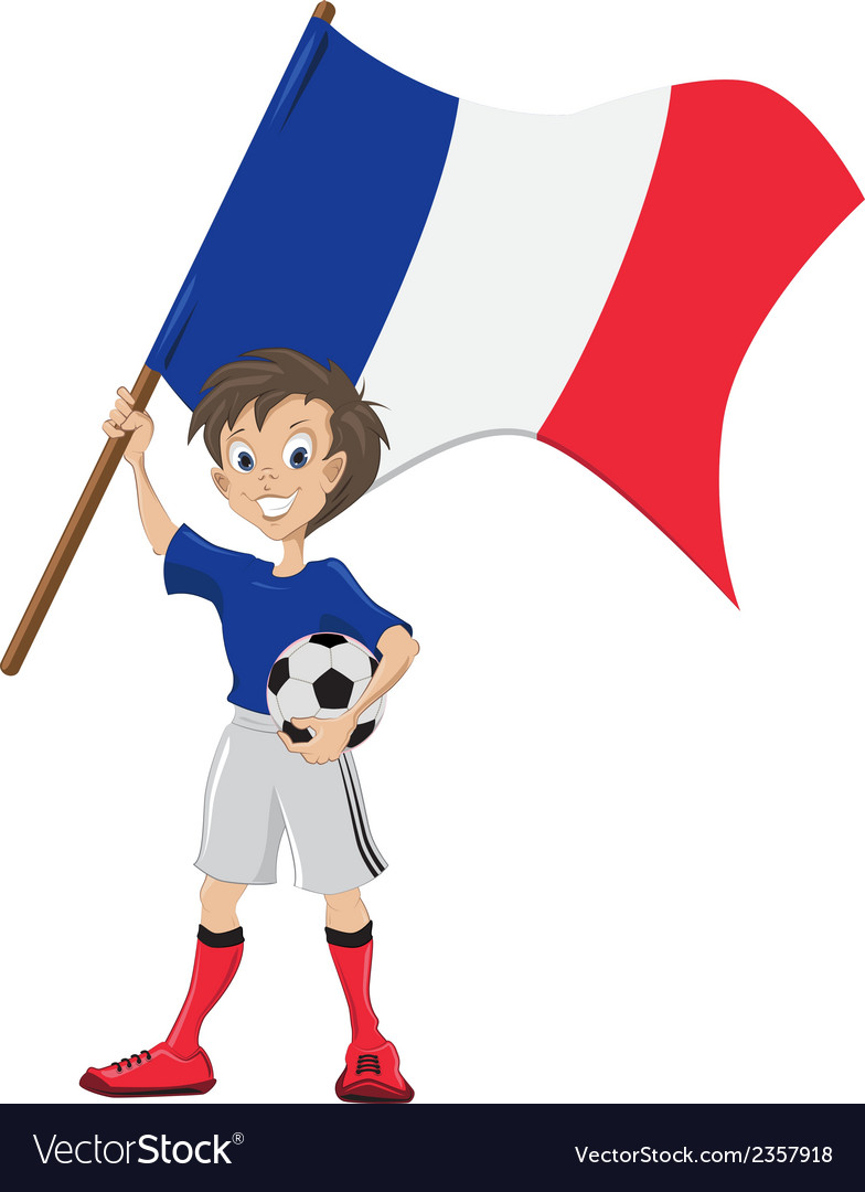 Happy soccer fan holds france flag vector | Price: 1 Credit (USD $1)