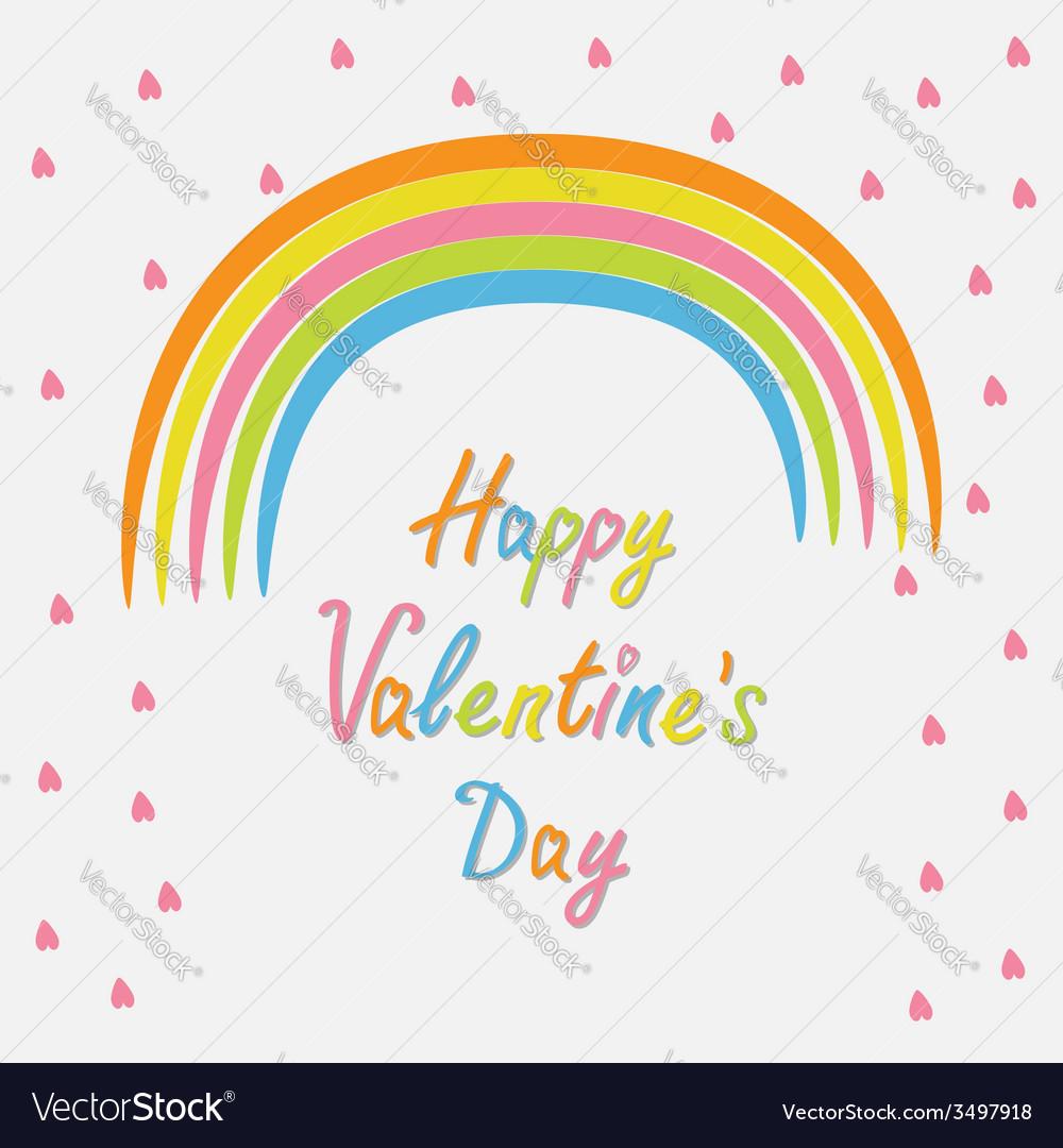 Rainbow and pink heart rain flat design style vector | Price: 1 Credit (USD $1)