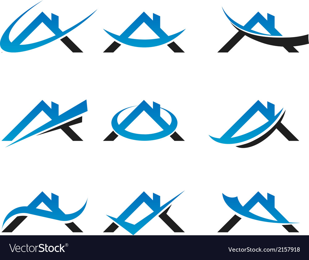 Real estate house roof logo icons vector