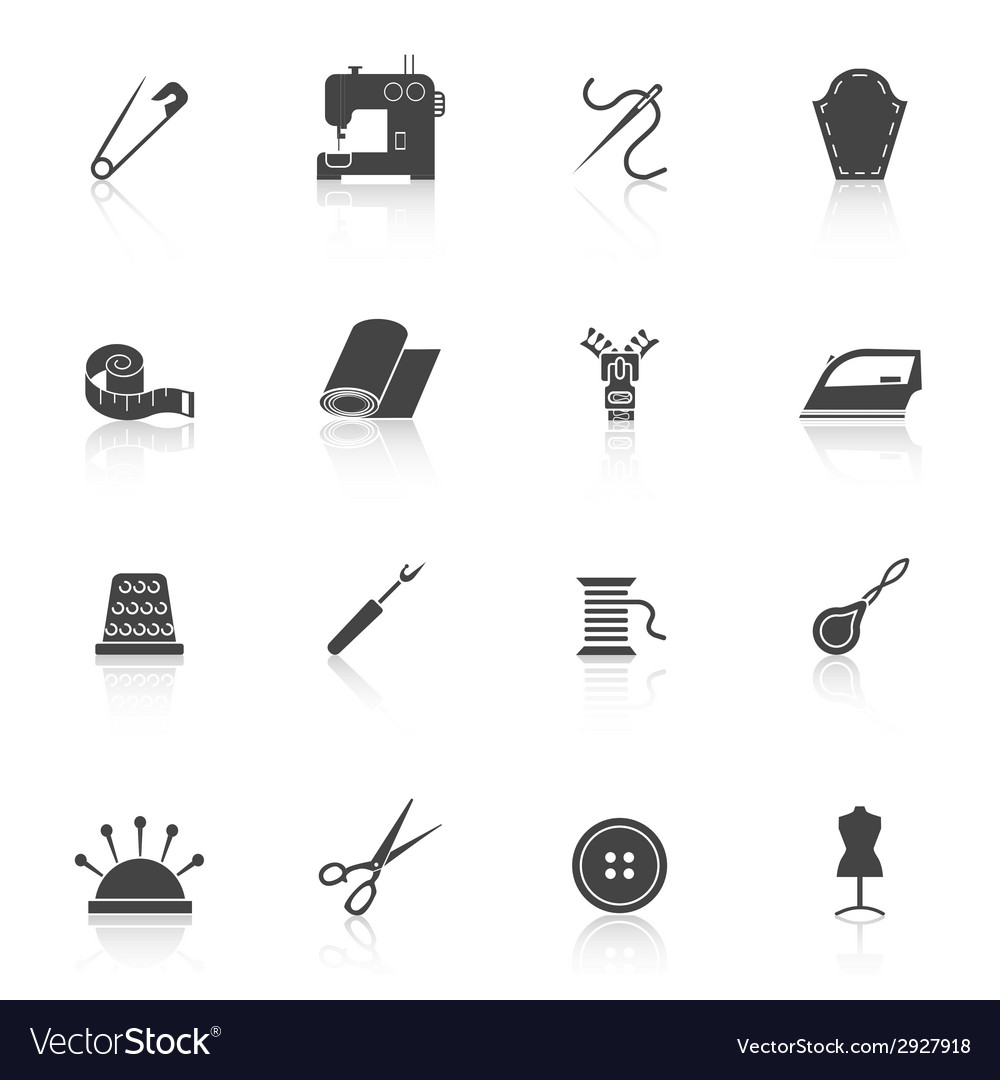 Sewing equipment icons set black vector | Price: 1 Credit (USD $1)