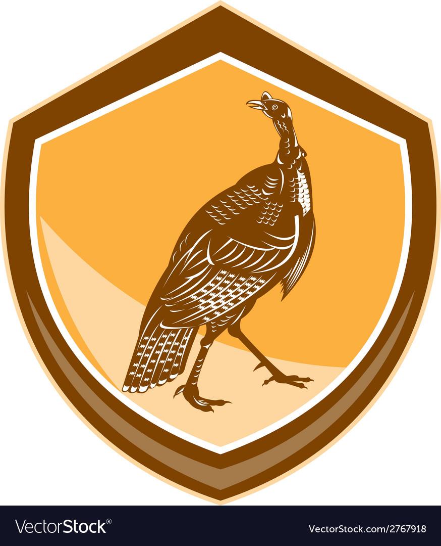 Turkey walking shield retro vector | Price: 1 Credit (USD $1)