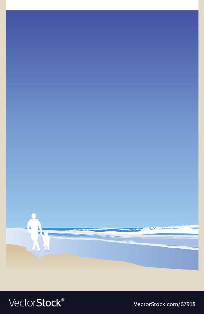 Walking on beach portrait vector | Price: 1 Credit (USD $1)