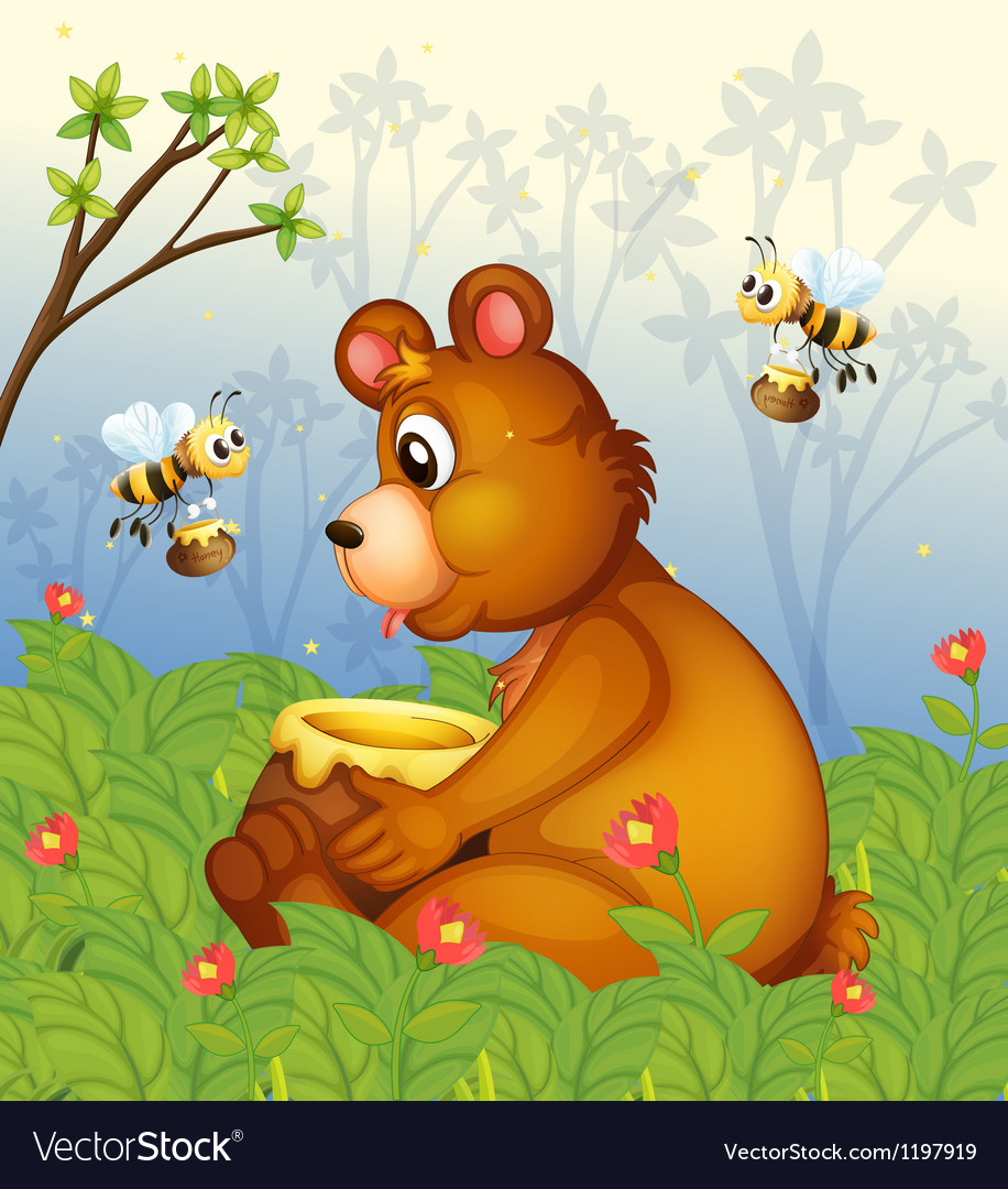 A bear and the pot of honey in the middle of the vector | Price: 1 Credit (USD $1)