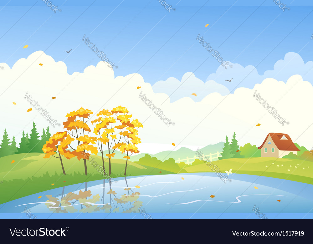 Autumn day scene vector | Price: 3 Credit (USD $3)