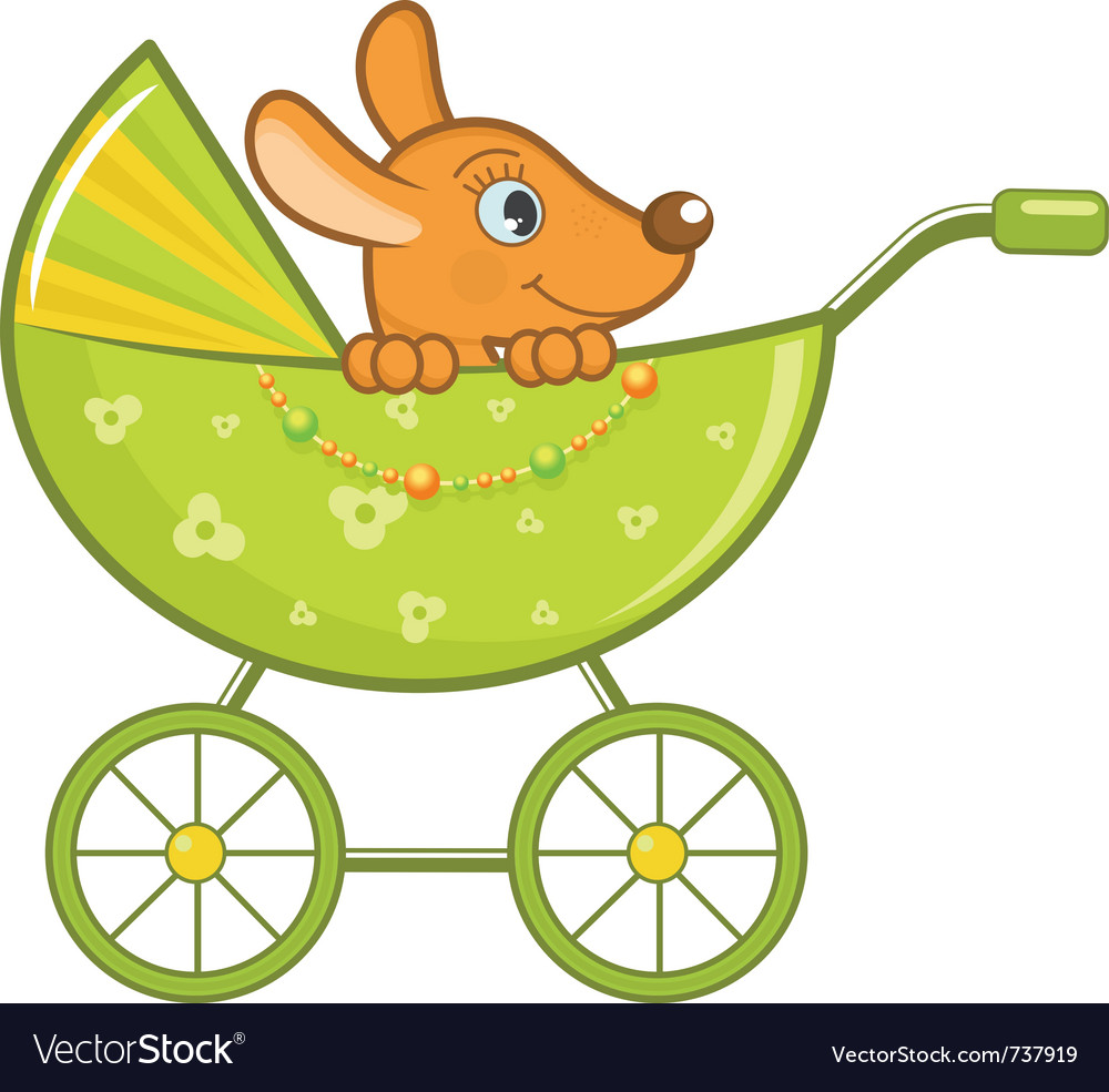 Baby animal in stroller vector | Price: 1 Credit (USD $1)