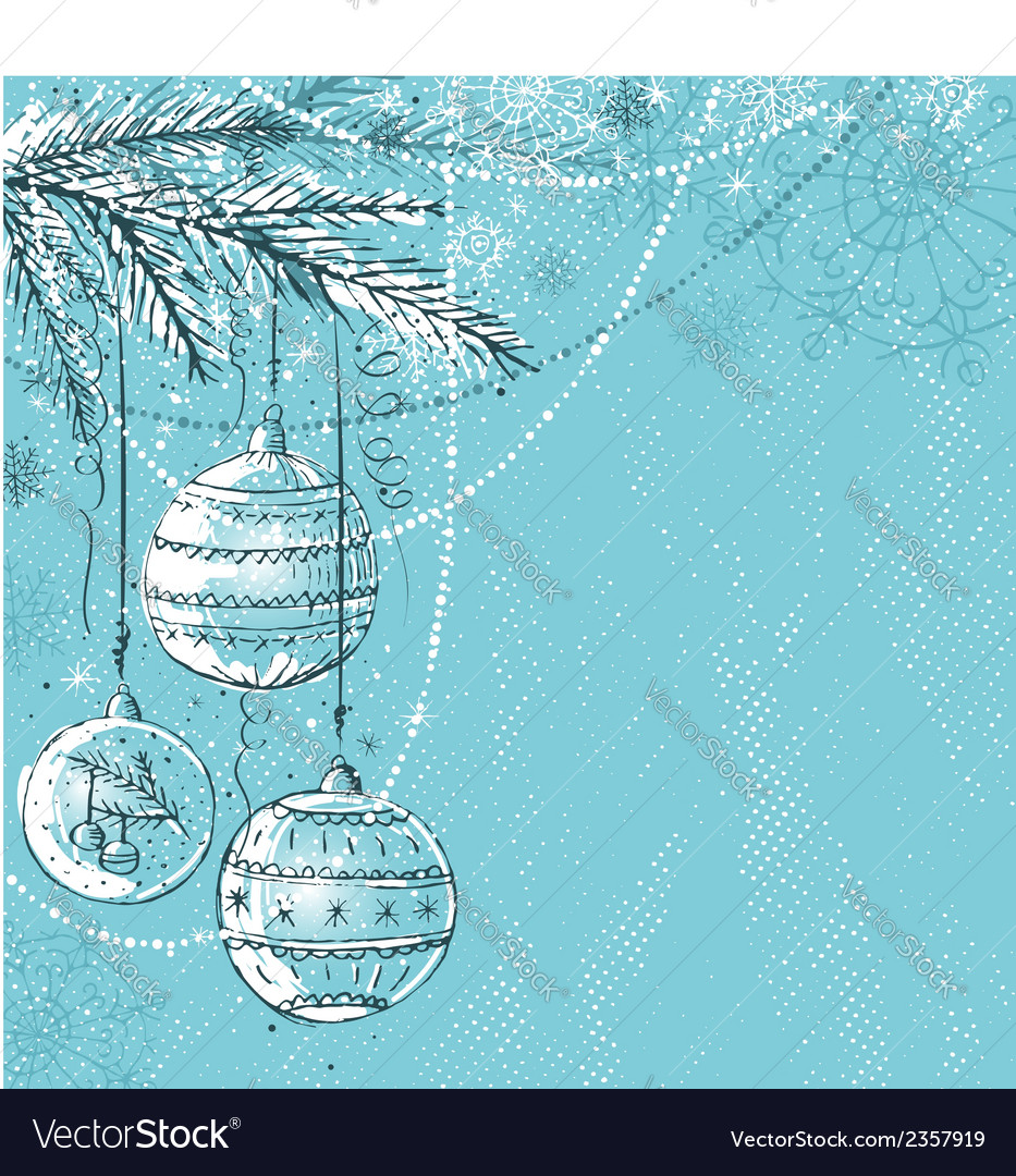 Blue background with christmas balls vector | Price: 1 Credit (USD $1)