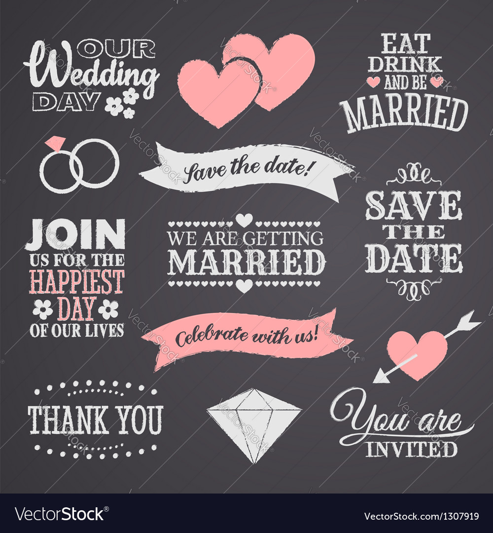 Chalkboard wedding elements set vector | Price: 1 Credit (USD $1)