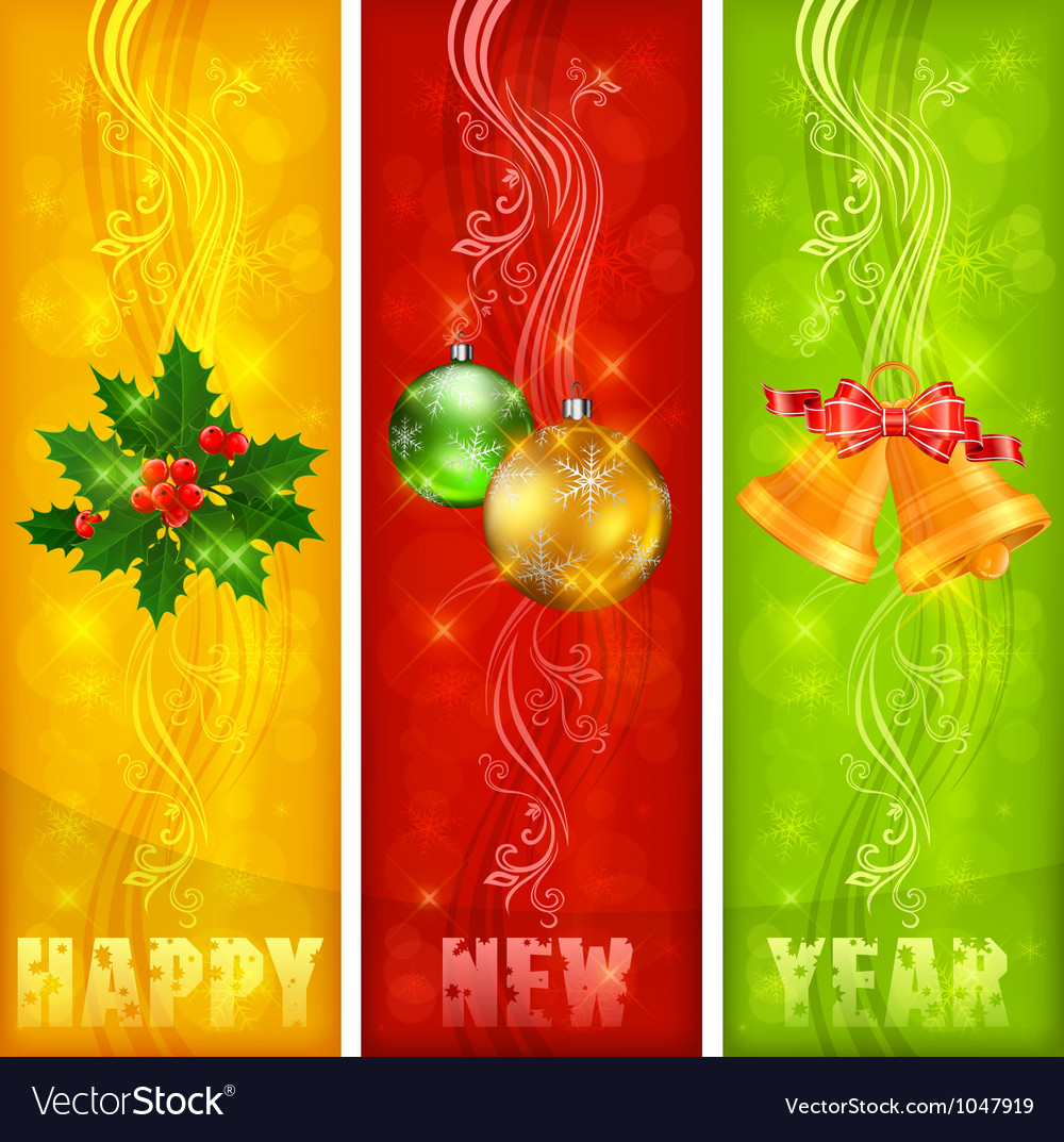 Christmas banners ornament color background 10 ss vector | Price: 1 Credit (USD $1)