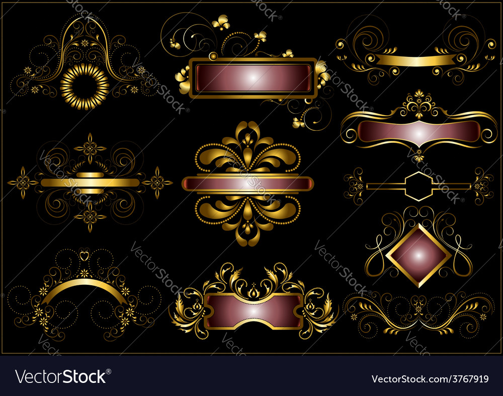Collection of vintage gold frames vector | Price: 1 Credit (USD $1)