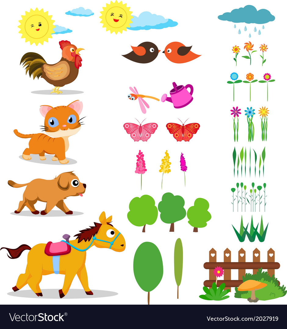 Farm life set vector | Price: 1 Credit (USD $1)