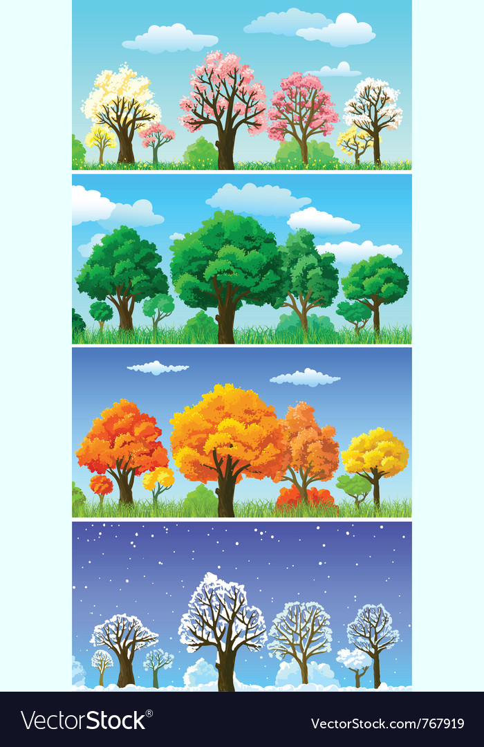 Four seasons trees and landscape banners vector | Price: 3 Credit (USD $3)