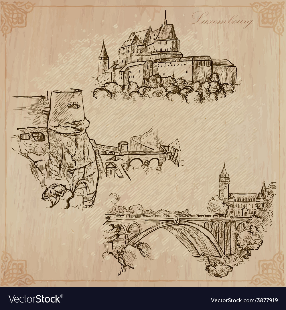 Luxembourg travel - hand drawn pack vector | Price: 1 Credit (USD $1)