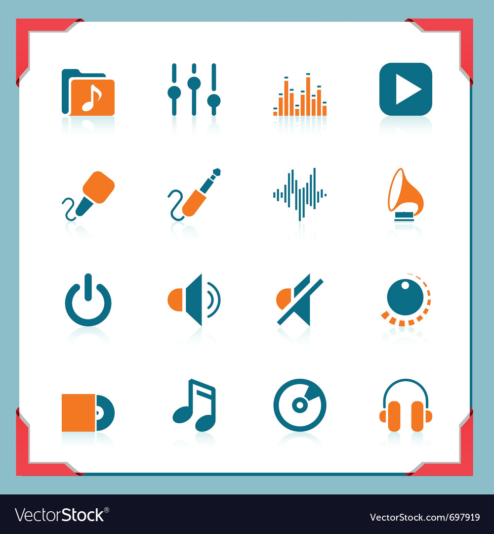 Music icons - in a frame series vector | Price: 1 Credit (USD $1)