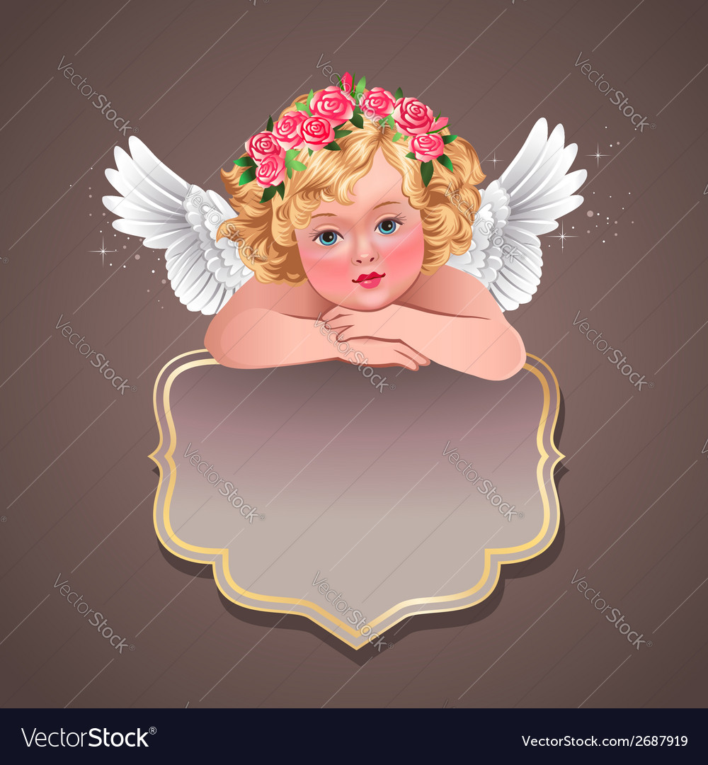 Retro angel banner vector | Price: 3 Credit (USD $3)