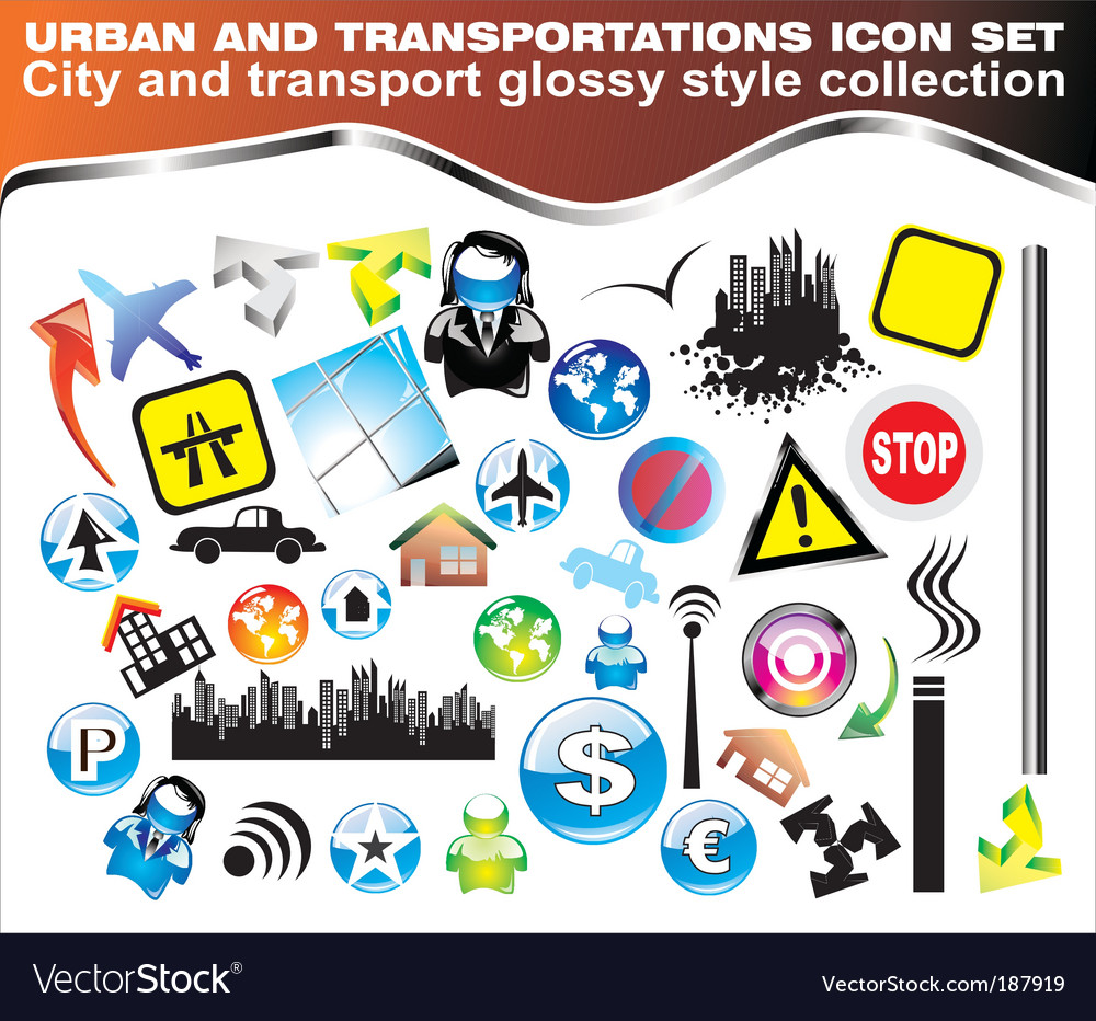 Urban icon set vector | Price: 3 Credit (USD $3)