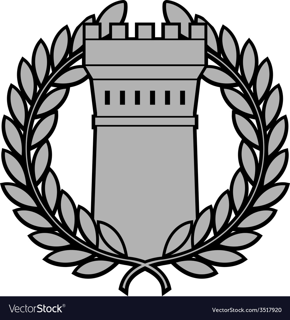 Ancient tower with laurel wreath vector | Price: 1 Credit (USD $1)