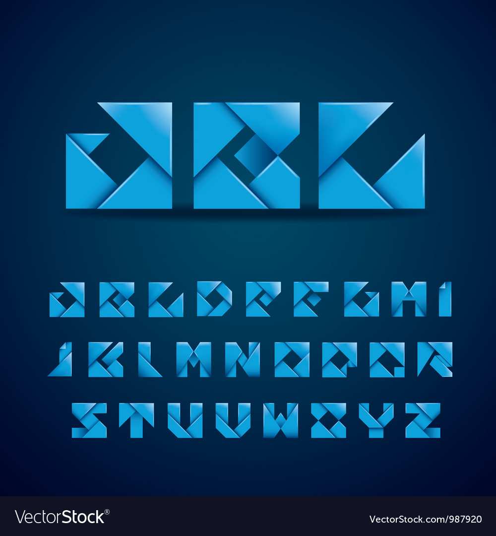 Blue origami alphabet vector