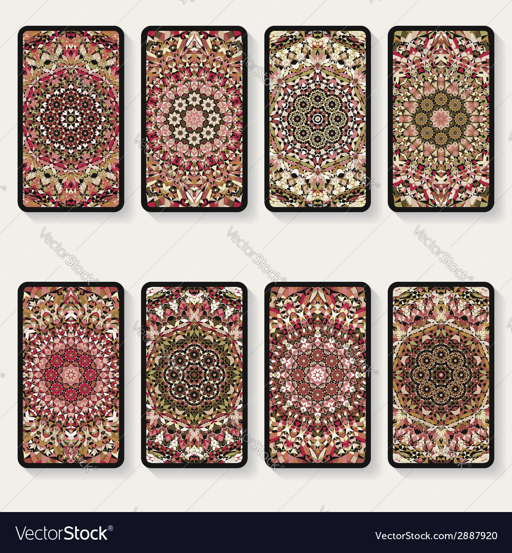 Business cards collection with kaleidoscope vector | Price: 1 Credit (USD $1)