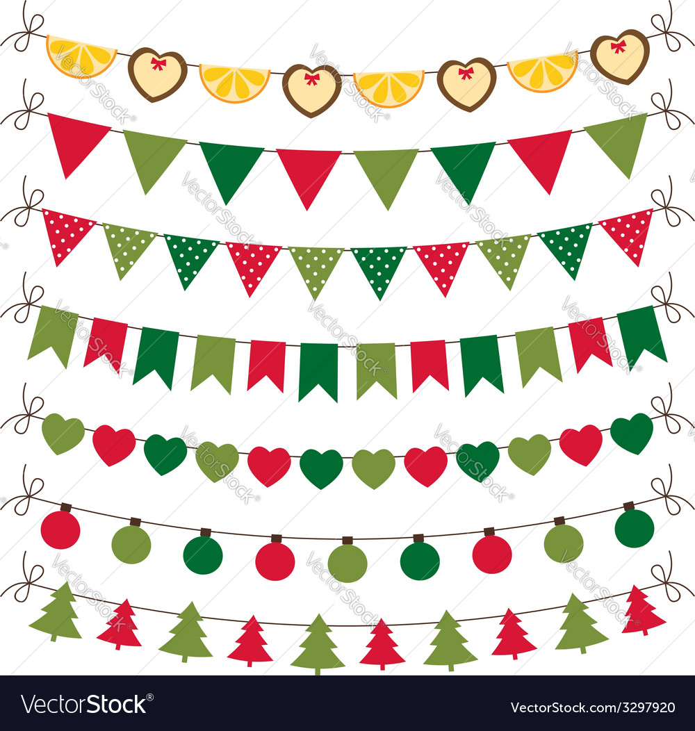 Christmas bunting and decoration set vector | Price: 1 Credit (USD $1)