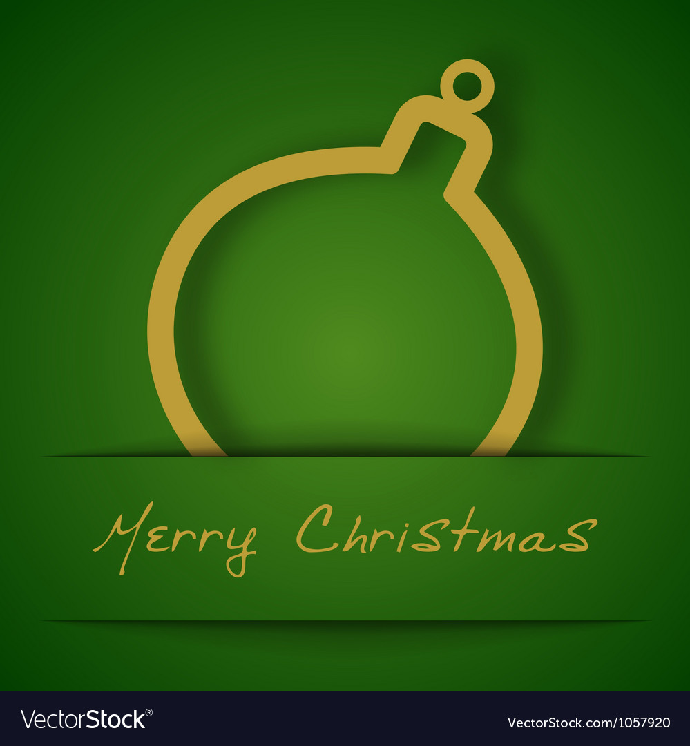 Christmas gold ball applique on green background vector | Price: 1 Credit (USD $1)