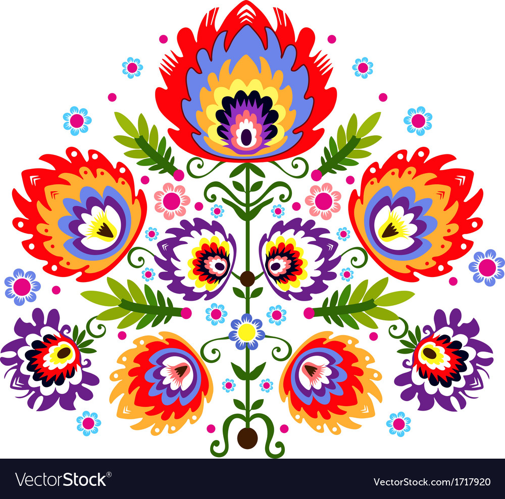 Folk embroidery flowers vector | Price: 1 Credit (USD $1)