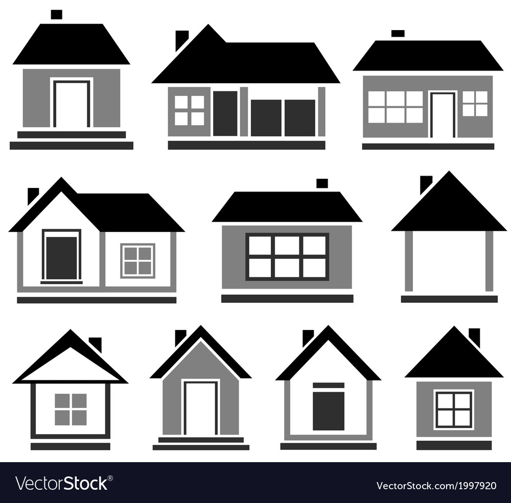 Isolated cottage set vector | Price: 1 Credit (USD $1)