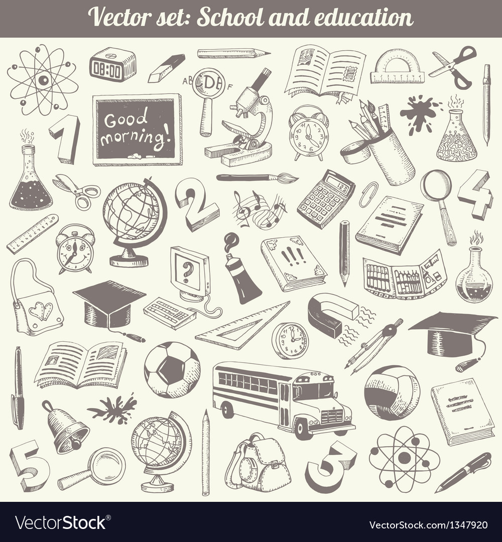 School and education doodles collection vector | Price: 3 Credit (USD $3)
