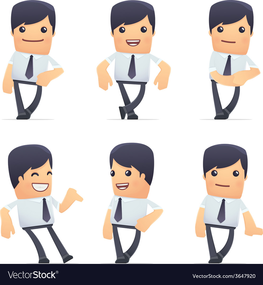 Set of businessman character in different poses vector | Price: 1 Credit (USD $1)