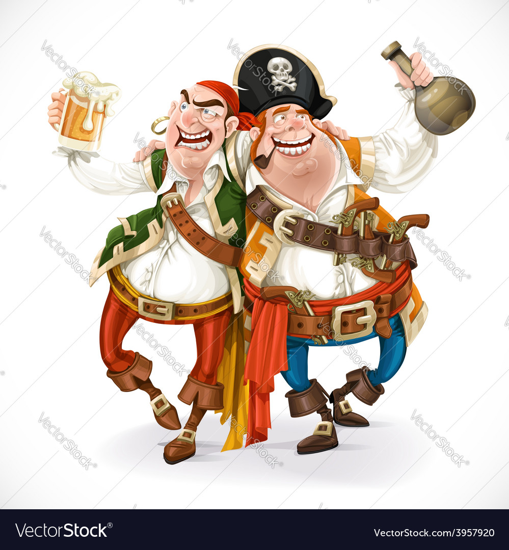 Two drunk pirates are drinking holding each other vector | Price: 3 Credit (USD $3)