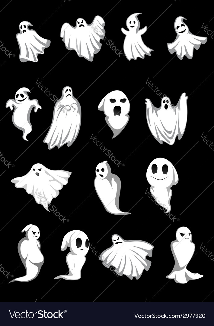 White halloween ghosts vector | Price: 1 Credit (USD $1)