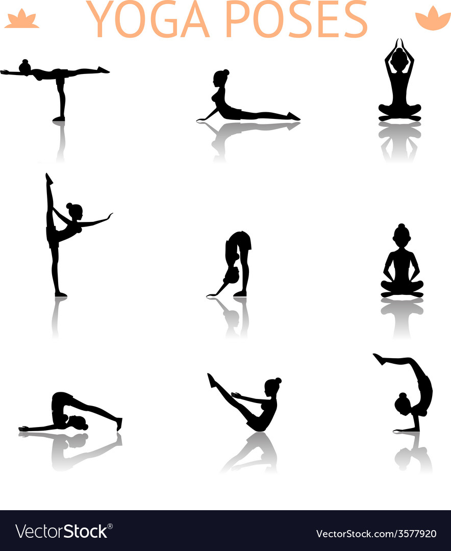 Yoga silhouette poses vector | Price: 1 Credit (USD $1)