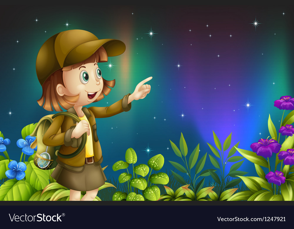A girl in a rainforest vector | Price: 1 Credit (USD $1)