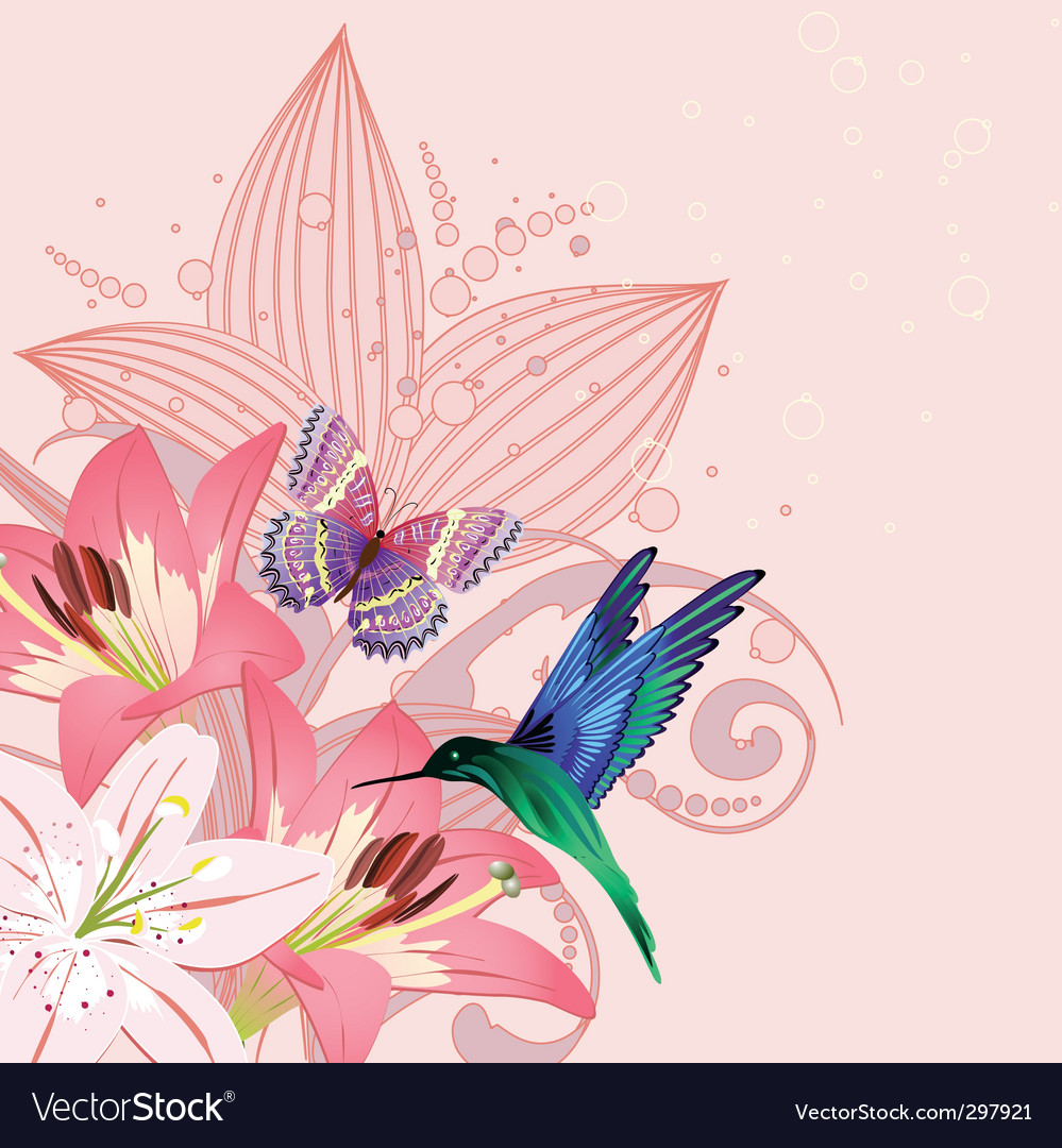 Birdie on the lilies vector | Price: 1 Credit (USD $1)