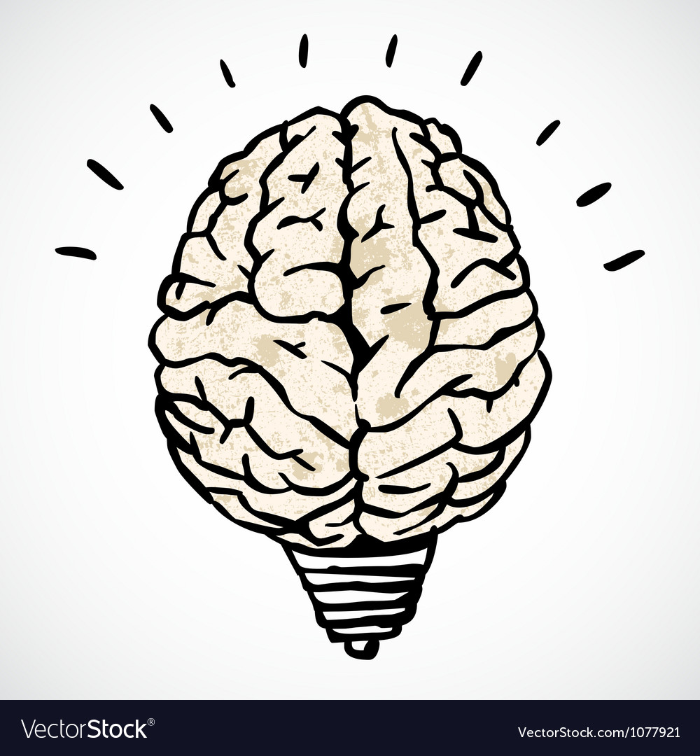Brain and lamp concept in doodle style vector | Price: 1 Credit (USD $1)