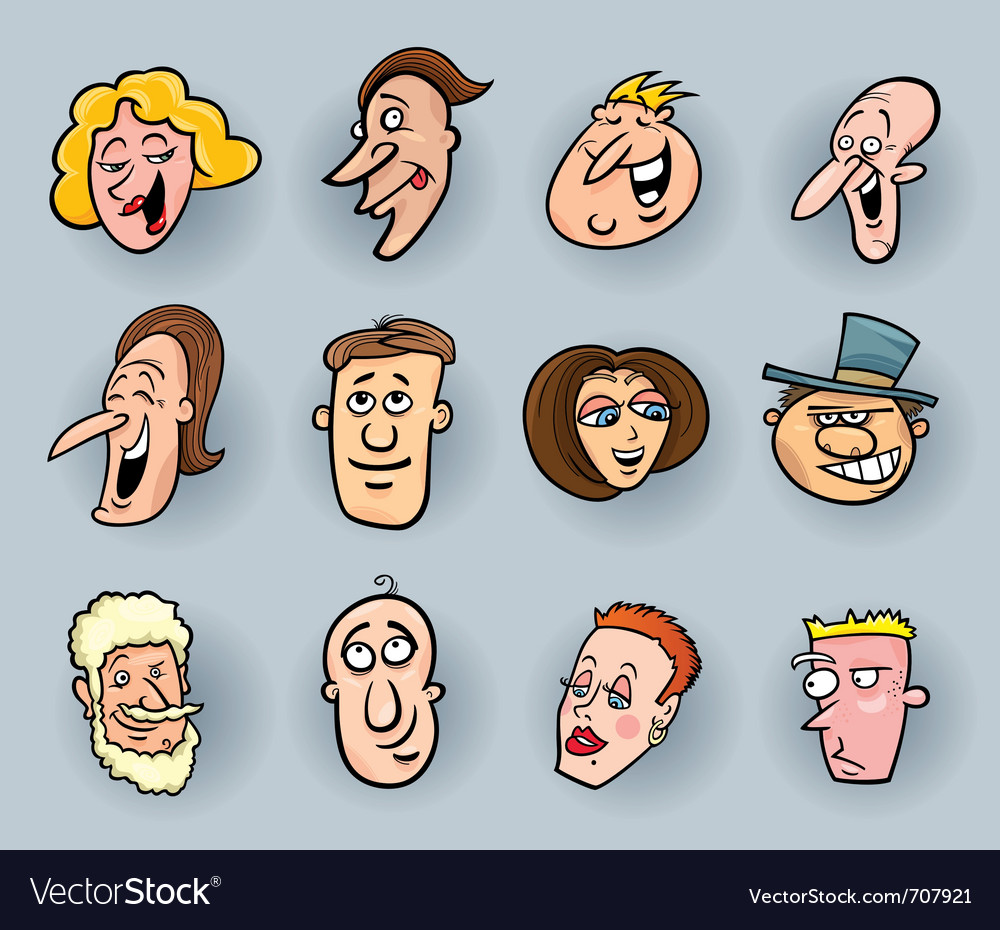 Cartoon people faces vector | Price: 1 Credit (USD $1)